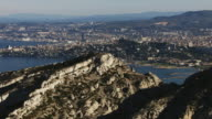 France, Marseille: Aerial view behind a mountain