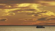 France, Marseille: Passenger boat on water under twilight