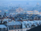 France, Paris, rooftops at dusk, elevated view