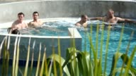 France's rugby team relax in a pool in Napier on September 19 2011 during the 2011 Rugby World Cup Napier Hawke's Bay New Zealand