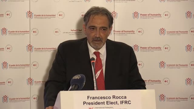 Francesco Rocca newlyelected president of the International Federation of Red Cross and Red Crescent Societies holds a press conference during the...