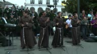 Franciscan Brothers get pilgrims dancing on the streets of Ecuadors capital while they wait to see Pope Francis with a band that blends Latin rhythms...