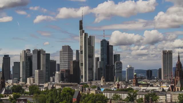 Frankfurt am Main - T/L of a beautiful cloudy sky over Frankfurt's iconic skyline