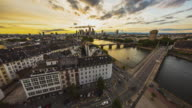 Frankfurt am Main - Skyline - T/L sunset overlooking Frankfurt and the river Main - wide angle