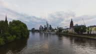 Frankfurt am Main - Skyline - sunset Timelapse day to night at river Main - wide angle