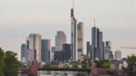 Frankfurt am Main - Skyline - Timelapse sunrise at river Main - close up