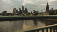 Frankfurt am Main - Skyline - Timelapse sunset at river Main - slider move
