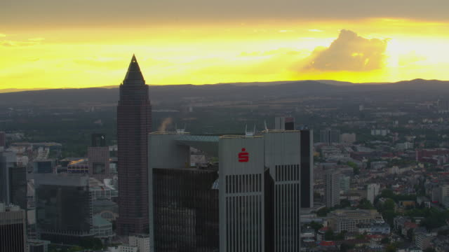 Frankfurt am Main sunset behind Messe Tower and the Trianon Tower