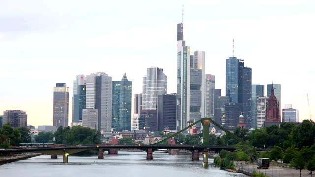 Frankfurt Cityscape along the main river sunset