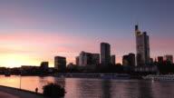 Frankfurt financial centre at dusk