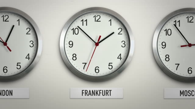 Frankfurt international time zone wall clock with 12 hour loop