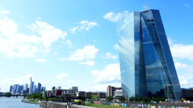 Frankfurt New ECB Building And Skyline T/L