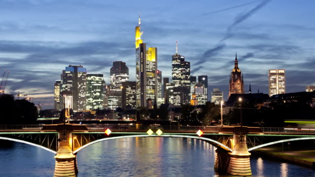 Frankfurt skyline at dusk.