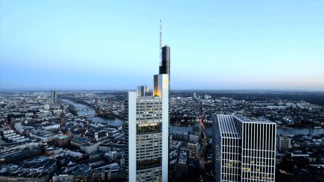 Frankfurt Skyline Downtown aerial view