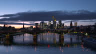 Frankfurt skyline illuminated at dusk twilight.