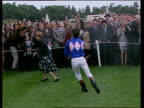 Franki Dettori sprays champagne over crowd as he celebrates his magnificent seven consecutive winners Ascot 29 Sep 96