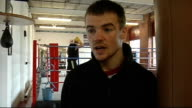 Frankie Gavin prpepares for first professional fight ENGLAND Birmingham INT Closeup of Frankie Gavin training in ring Gavin interview SOT Has never...