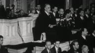 Franklin D Roosevelt asking congress to declare war on Japan after bombing of Pearl Harbor / Washington D