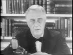 Franklin D Roosevelt speaking to camera at desk / closeup of FDR as he signs and vetoes Congress bill / montage shots of newspaper headlines of...