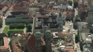 AERIAL Frauenkirche Church in old town, Munich, Bavaria, Germany