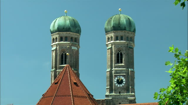 MS Frauenkirche towers against clear sky, Munich, Bavaria, Germany