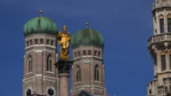 Frauenkirche towers and Mariensaule (St. Mary's Column), Munich, Bavaria, Germany, Europe