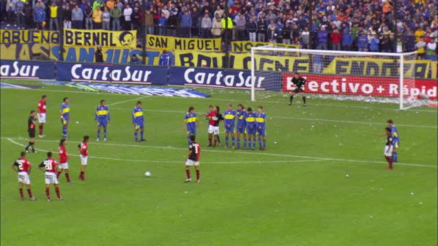 WS Free kick during football match at stadium / Buenos Aires, Argentina