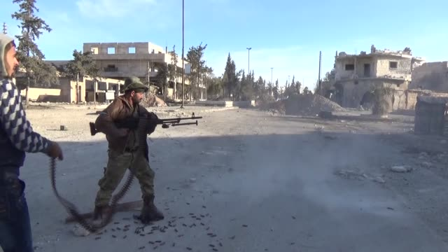 Free Syrian Army fighters hit Daesh targets in northern Syria's AlBab town as part of the ongoing Operation Euphrates Shield on February 21 2017...