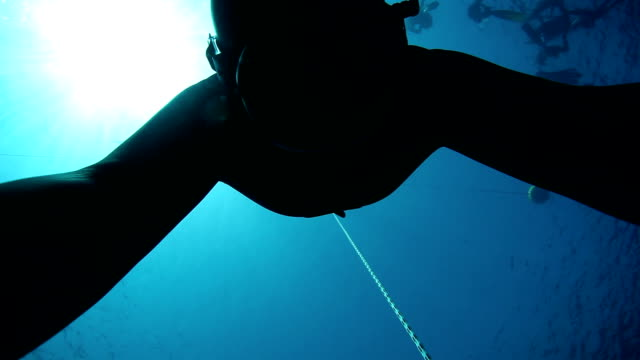 Freediver training at Blue Hole in Red Sea