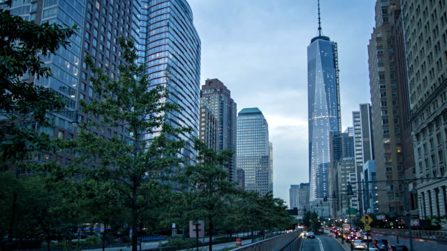 Freedom tower, street, Manhattan,  New York, USA