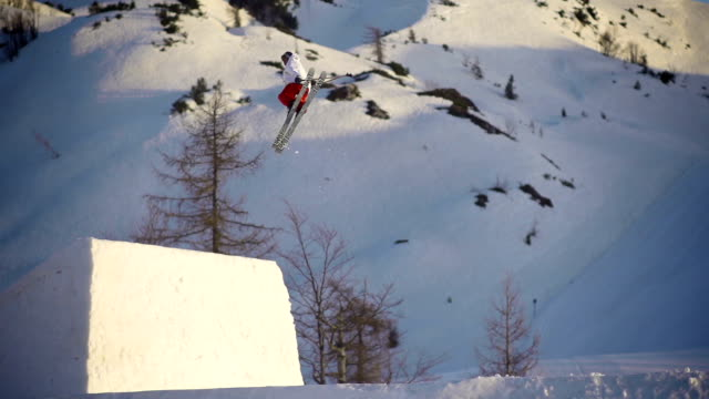 Freestyle skier performing a trick