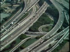 1970 MONTAGE AERIAL Freeways, Los Angeles, California, USA, AUDIO