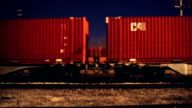Freight train at night.