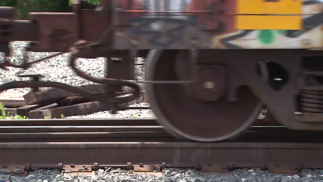 Freight Train Driving On Track,