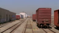 MS POV Freight train engine and industrial train yard