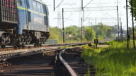 Freight Train Passing By tracks
