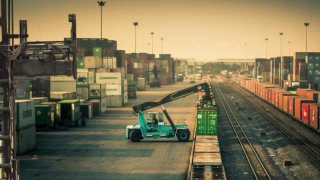 Freight train with cargo containers