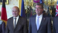 French and US defence ministers Jean Yves Le Drian and Ash Carter co host a meeting in Paris with their Australian British Dutch German and Italian...