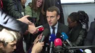 French centrist presidential candidate Emmanuel Macron reacted after French Swiss group LafargeHolcim said it was ready to sell its cement to build...