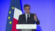 French conservative presidential candidate François Fillon accuses the left of wanting to eliminate Fillon speaking at a rally in Biarritz one day...