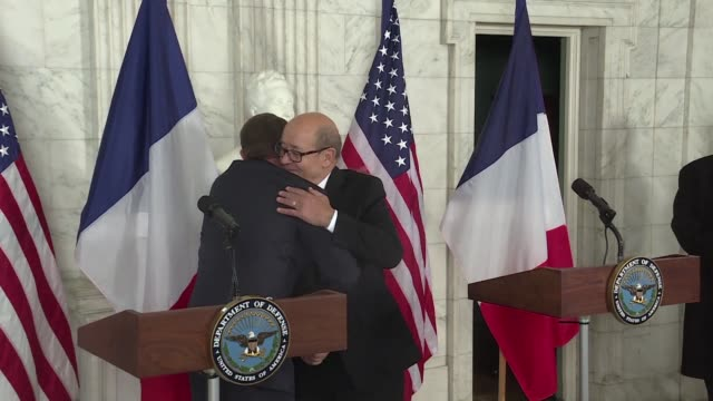 French Defense Minister Jean Yves Le Drian meets with US Secretary of Defense Ashton Carter in Washington