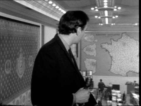 Paris CS Peter Snow in Ministry of Interior I/C SOF 'Well it's certainlyresult of this election' NEG 16mm ITN Tx6367/855pm