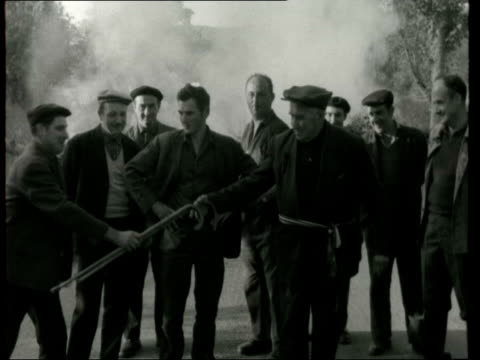 French farmers protest against De Gaulle FRANCE Gueret CS Blazing tyre Pull out blocking road CS Farmers through smoke Pull out fire CMS Smoke fire...