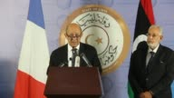 French Foreign Affairs Minister Jean Yves Le Drian gave a joint press conference with his Libyan counterpart Mohamed Taha Siala following his arrival...