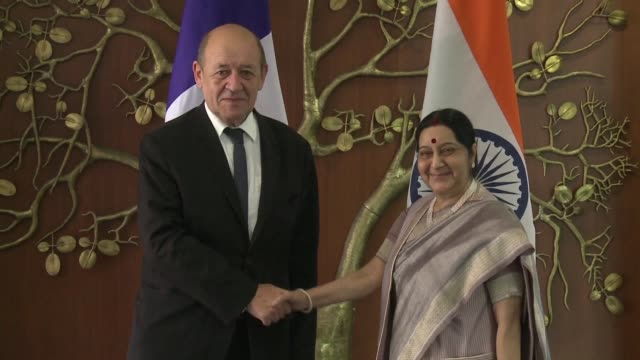 French Foreign Minister JeanYves Le Drian meets his Indian counterpart Sushma Swaraj on the first day of his visit to India