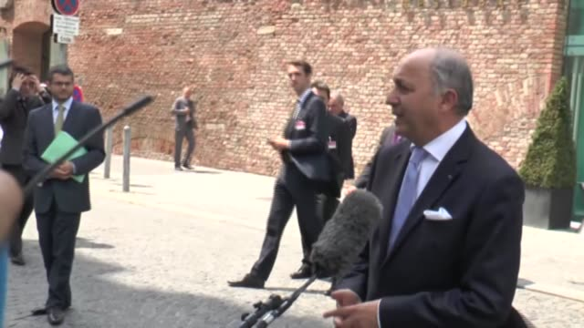 French foreign minister Laurent Fabius speaks to media during Iran nuclear talks in Vienna Austria on July 12 2015