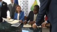 French Minister of Ecology Ségolène Royal Minister of Defense and Foreign Affairs Lener Renaud at J/P Haitian Relief Organization CEO Sean Penn Joins...