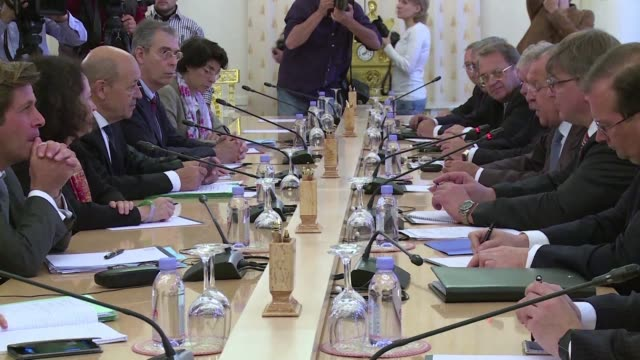 French Minister of Foreign Affaires Jean Yves Le Drian and his Russian counterpart Sergei Lavrov meet in Moscow