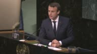 French President Emmanuel Macron addresses the 72nd United Nations General Assembly at UN headquarters in New York USA on September 19 2017