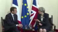 French President Emmanuel Macron and British Prime Minister Theresa May hold their first formal bilateral since he took office at the San Domenico...